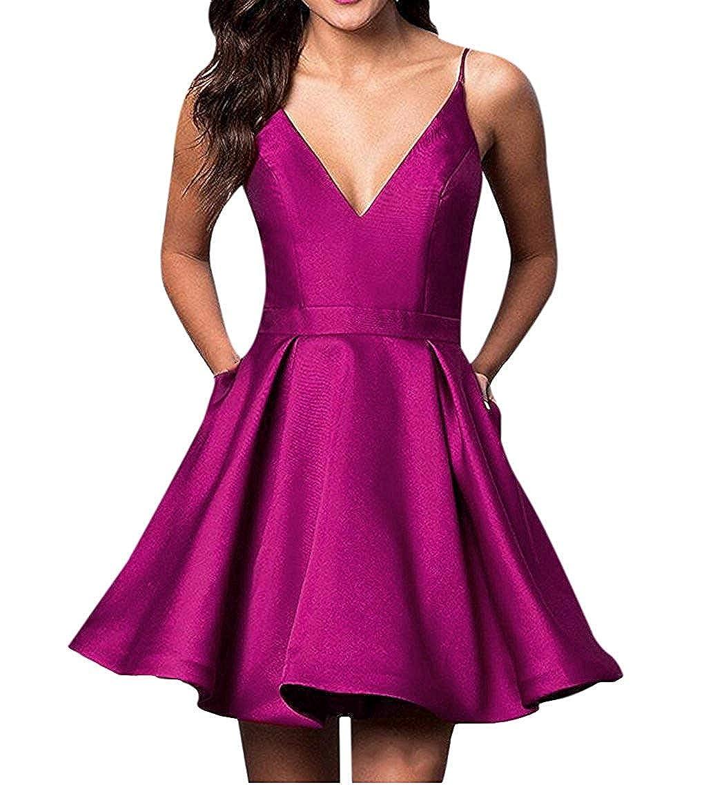 Fushcia Voteron Women's Short Spaghetti Straps Cocktail Party Dress Homecoming Dresses