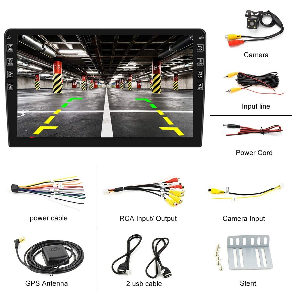 Hikity 10.1 Inch Android Car Stereo with GPS Double Din Bluetooth Car FM Radio Support WiFi Connect Mirror Link for Android//iOS Phone Dual USB Input /& 12 LEDs Backup Camera