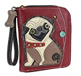 Chala Zip Around Wallet, Wristlet, 8 Credit Card Slots, Sturdy Pu Leather - Pug - Burgundy, 5'W x 0.5'D x 5.5'H