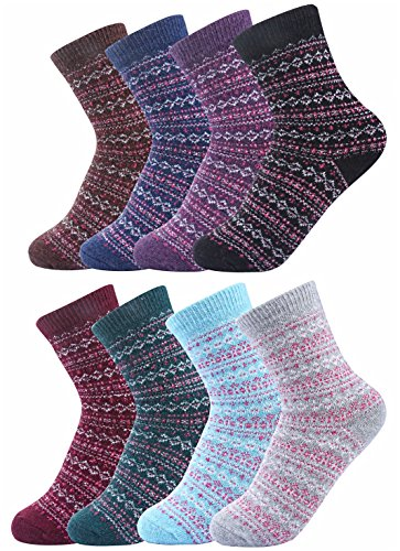 Luxina 8 Pairs Thick Wool Knitting Autumn Winter Socks for Women Striped Zag Zig Patterned - Cashmere Cotton Shorts
