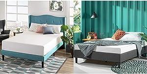 Zinus 12 Inch Green Tea Memory Foam Mattress/CertiPUR-US Certified/Bed-in-a-Box/Pressure Relieving, Queen & Curtis Platform, Queen, Grey