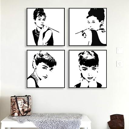 Amazon.com: Classic Audrey Hepburn Black and White Canvas Print ...