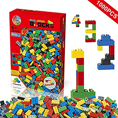 Litian Building Blocks 1000 Pieces Set, Building Bricks Creative DIY Interlocking Toy Set Random Colors Mixed Shape ABS Puzzle Construction Toys Set for Kids Age6+ (1000PCS): Toys & Games