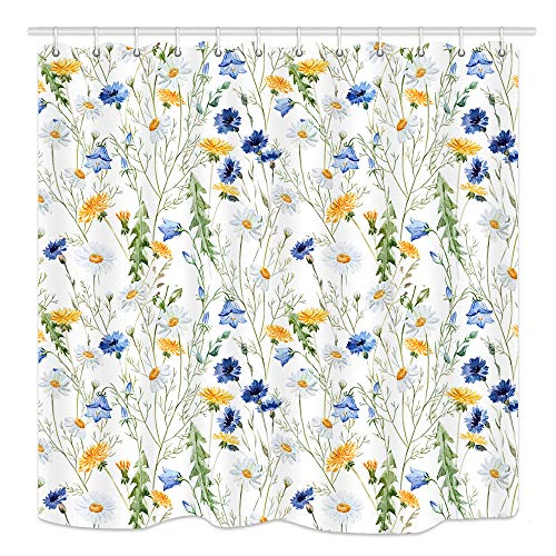 (KOTOM Flowers Shower Curtain for Bathroom, Spring Garden Floral Plants with Chrysanthemum and Leaves Shower Curtain, Fabric Bath Curtain Accessories, 69X70 in)