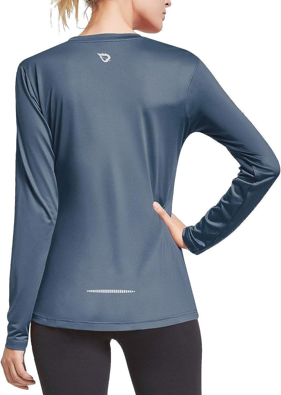 BALEAF Womens V Neck Dri Fit Long Sleeve Wicking Shirt UV Running Yoga T-Shirt Lightweight