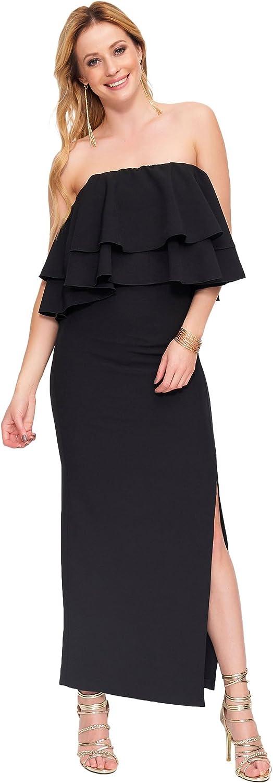 MAKADAMIA Maxi Long Dress Cocktail Strapless Leg Slit Elegant Frills FA599