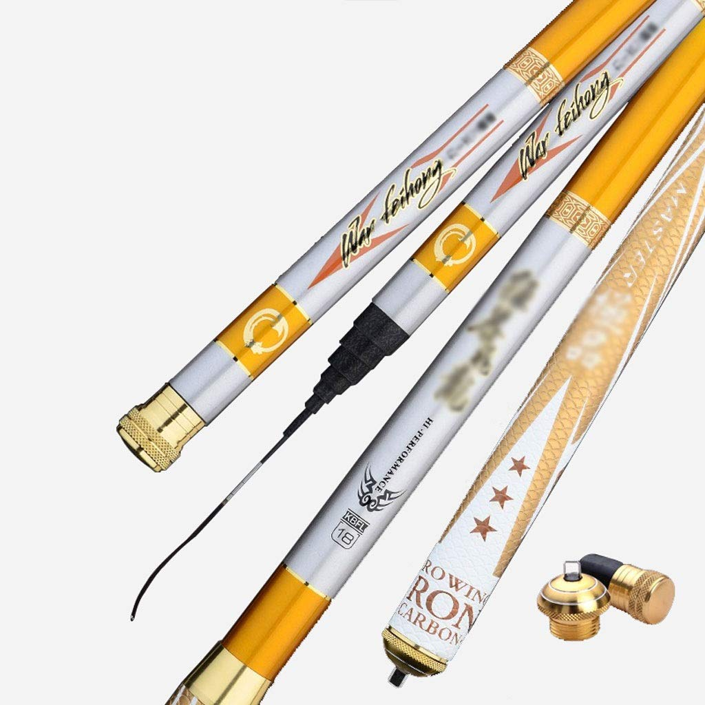 3.6 Fishing Rod Carbon, 3.67.2 Meters Ultra Light Super Hard 28 Adjustable Fishing Tools Can Be Contracted Portable (Yellow) (Size   3.6)