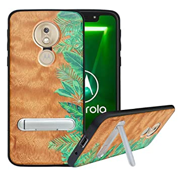 HHDY Funda de Madera para Motorola Moto G7 Power,Funda Moto G7 Supra Carcasa Kickstand con Soporte de Metal,Case Cover Madera Real+TPU Bumper Caso ...
