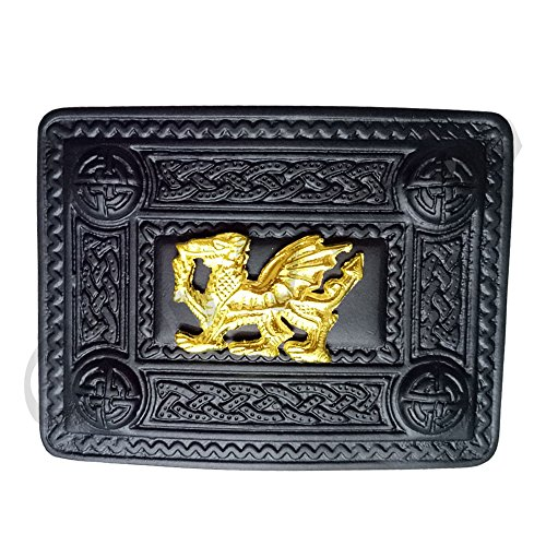 (Men's Scottish Kilt Belt Buckle Black Finish Various Design/Highland Kilts Belt Buckles Jet Black/Celtic (Welsh Dragon Kilt Belt Buckles))