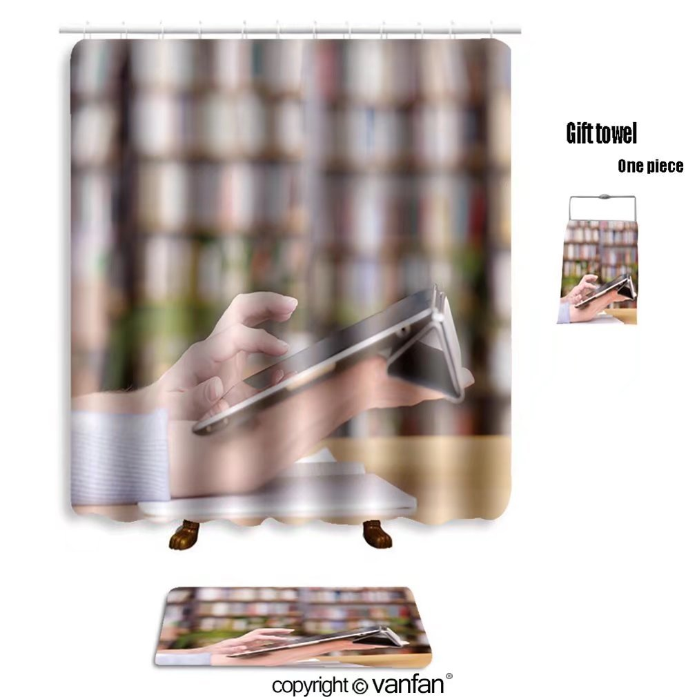 vanfan bath sets Polyester rugs shower curtain hands typing on tablet in college class 12390 shower curtains sets bathroom 69 x 84 inches&31.5 x 19.7 inches(Free 1 towel 12 hooks) by vanfan (Image #1)