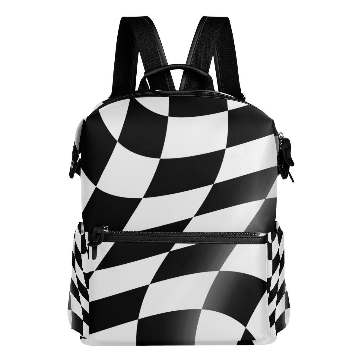 COOSUN Zaino da viaggio Bianco e nero cheked Racing Flag scuola zaino Multi