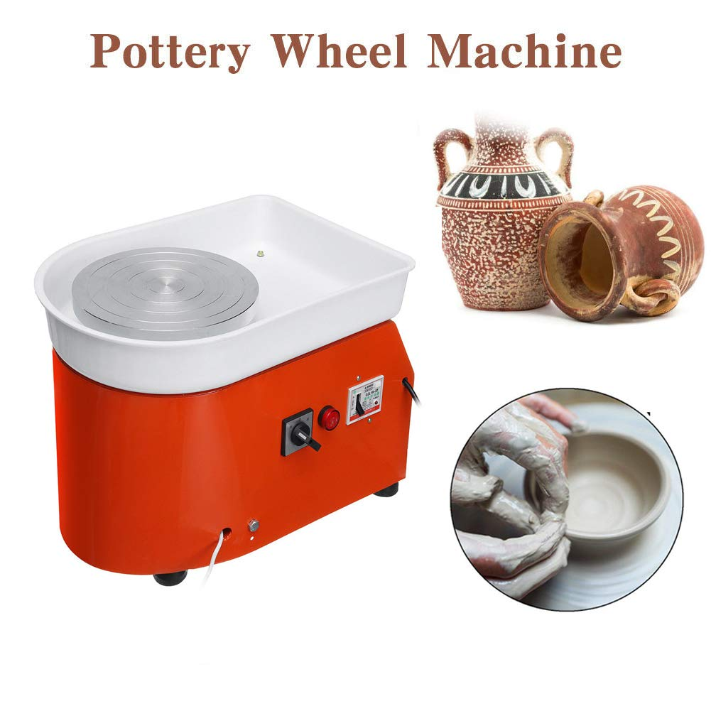 H&ZT Pottery Wheel 9.8Inch/25CM Pottery Forming Machine 350W Electric Pottery Wheels DIY Clay Tool with Tray for Ceramic Work Ceramics Clay (Orange, 350W)