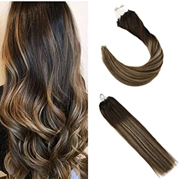 Ugeat 50g Remy Micro Ring Hair Extensions 4 18 4 Dark Brown And Dark Ash Blonde Balayage 20 Inches Hair Extensions Micro Rings