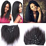 Youth Beauty 8A Grade Mongolian Afro Kinky Curly Clip Ins Hair Extension Vigin Human Hair weaving Kinky Straight Curly 7pcs/lot,110gram/set Natural Black For American Black Women 14″ Review