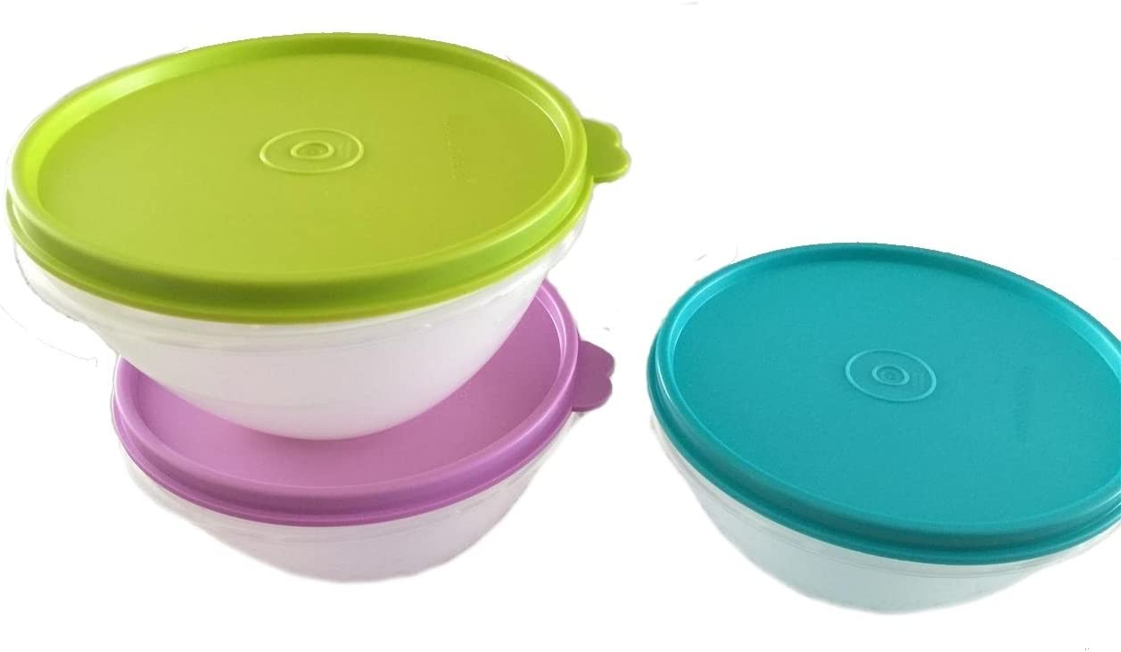 Tupperware Small Wonderlier Bowls in Clear with Purple Daisy/Salsa Verde/Tropical Water Seals