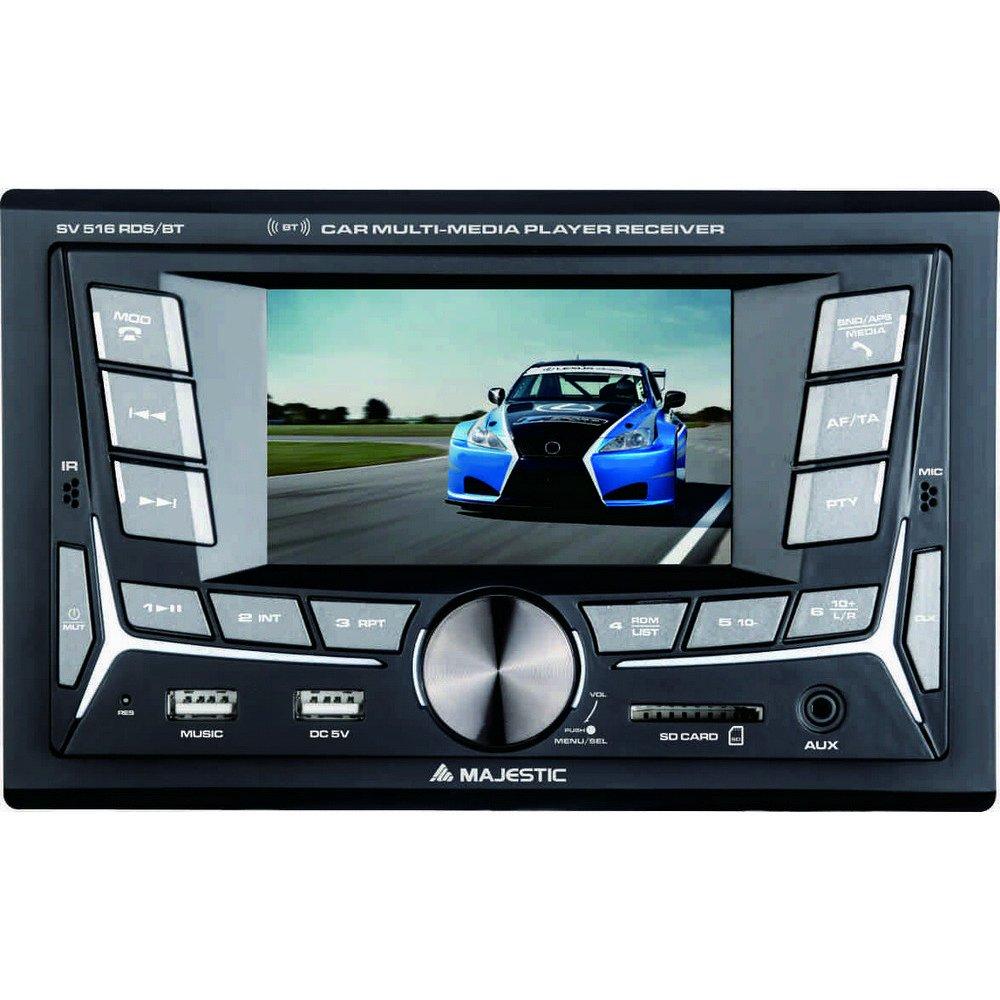 180W 45W x 4ch Nero Autoradio FM Bluetooth DOPPIO DIN con monitor 4 ingressi SD//AUX-IN Majestic SV 516 RDS BT doppio USB