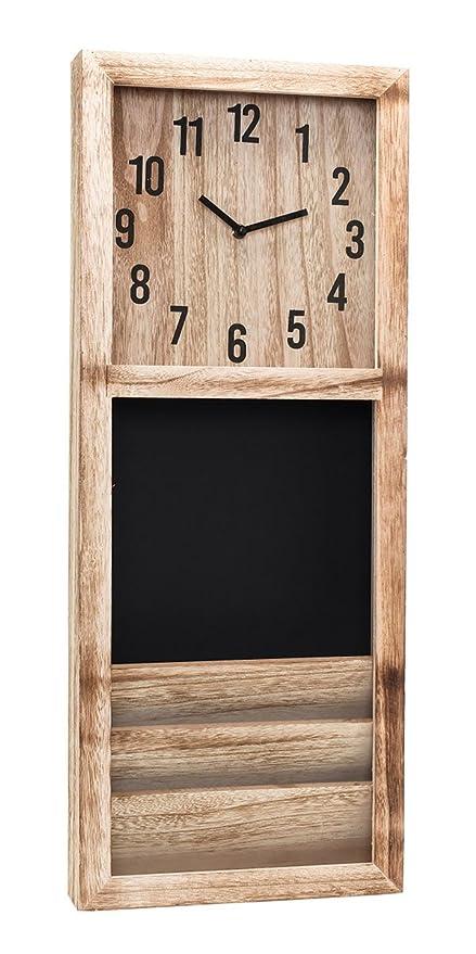 Memo Pizarra Reloj de Pared de Madera 70 x 30 x 7 cm - Memo ...