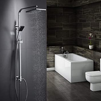 Auralum - Conjunto de ducha de pared, sistema de ducha sólido, columna de ducha ajustable, ducha para cuarto de baño (grifo no incluido)