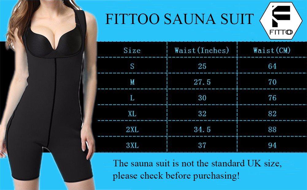 FITTOO Womens Full Body Shaper Sport Sweat Bodysuit Neoprene Enhancing Sauna Suit Black//Blue Weight Loss