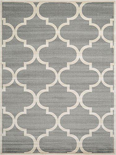 Unique Loom Trellis Collection Moroccan Lattice Gray Area Rug (9' 0 x 12' 0)
