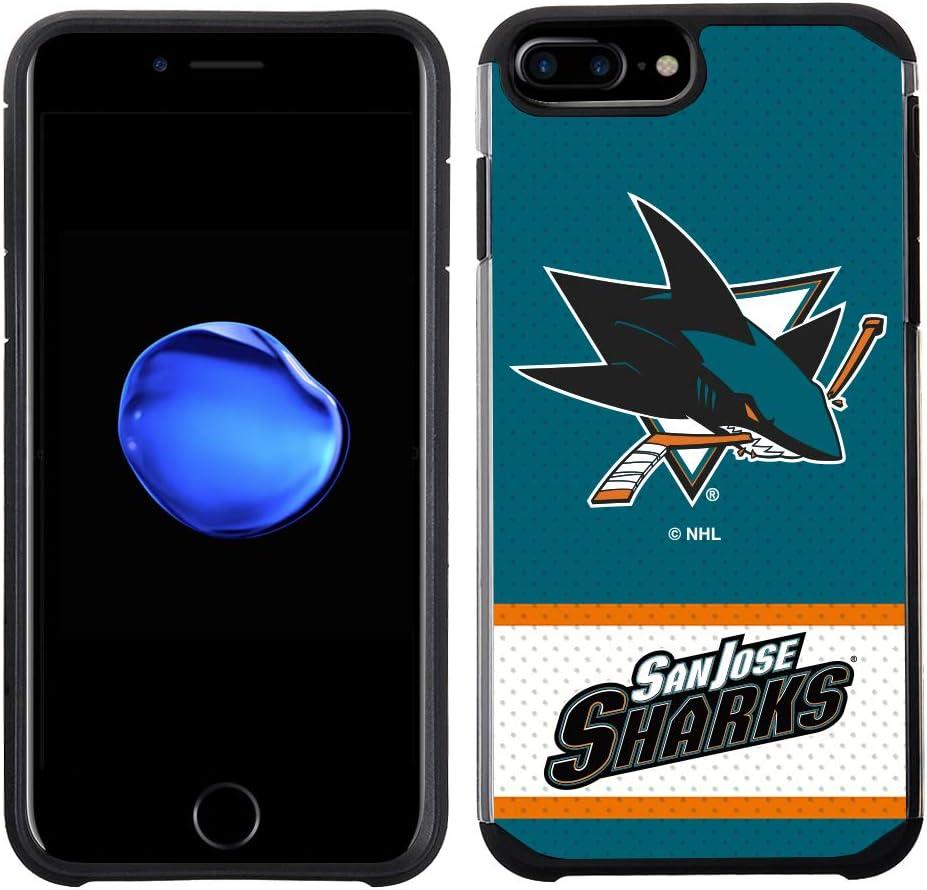 Apple iPhone 8 Plus/iPhone 7 Plus/iPhone 6s Plus/iPhone 6 Plus - NHL Licensed San Jose Sharks Blue Jersey Textured Back Cover on Black TPU Skin