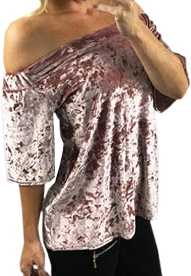 Betrothales Manga Camisa Corta Camisas Señoras Camisa Camisa Hombro Palabra BLU: Amazon.es: Ropa y accesorios