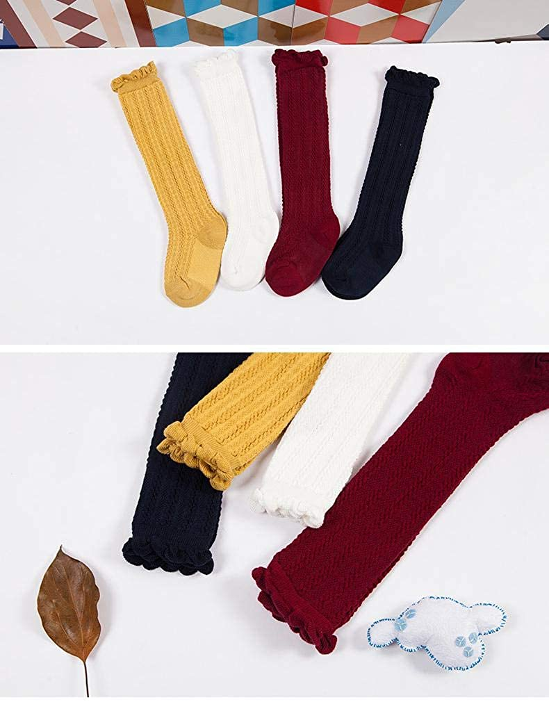 Dragon Honor Baby Girls Uniform Knee High Socks Toddlers Tube Ruffle Combed Cotton Stockings