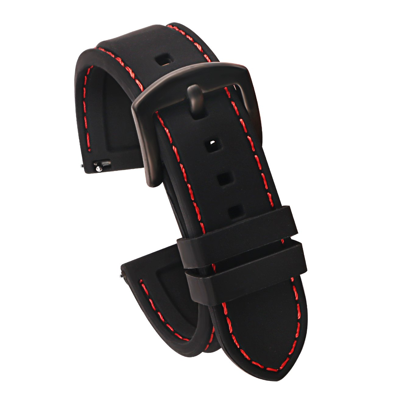 0eed1137413 Galleon - 22mm Quick Release Silicone Watch Strap For Watches And  Smartwatches Replacement Watch Band Black(Red Stitching Black Buckle)