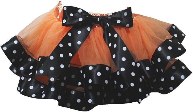 Petitebelle Vestido Naranja 4 Capa Color Blanco Lunares Cinta ...