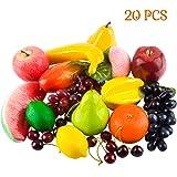 Toopify 20 Pcs Artificial Fruits, Assorted Fake Fruit Lifelike Realistic Decor