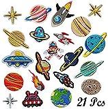 Patch Sticker, Woohome 21 Pz Parche Termoadhesivo, Sistema solar Astronauta Espacio Planetas Parche de Hierro en Parches para Ropa, Mochila, Gorras, Repara El Palo de Agujero