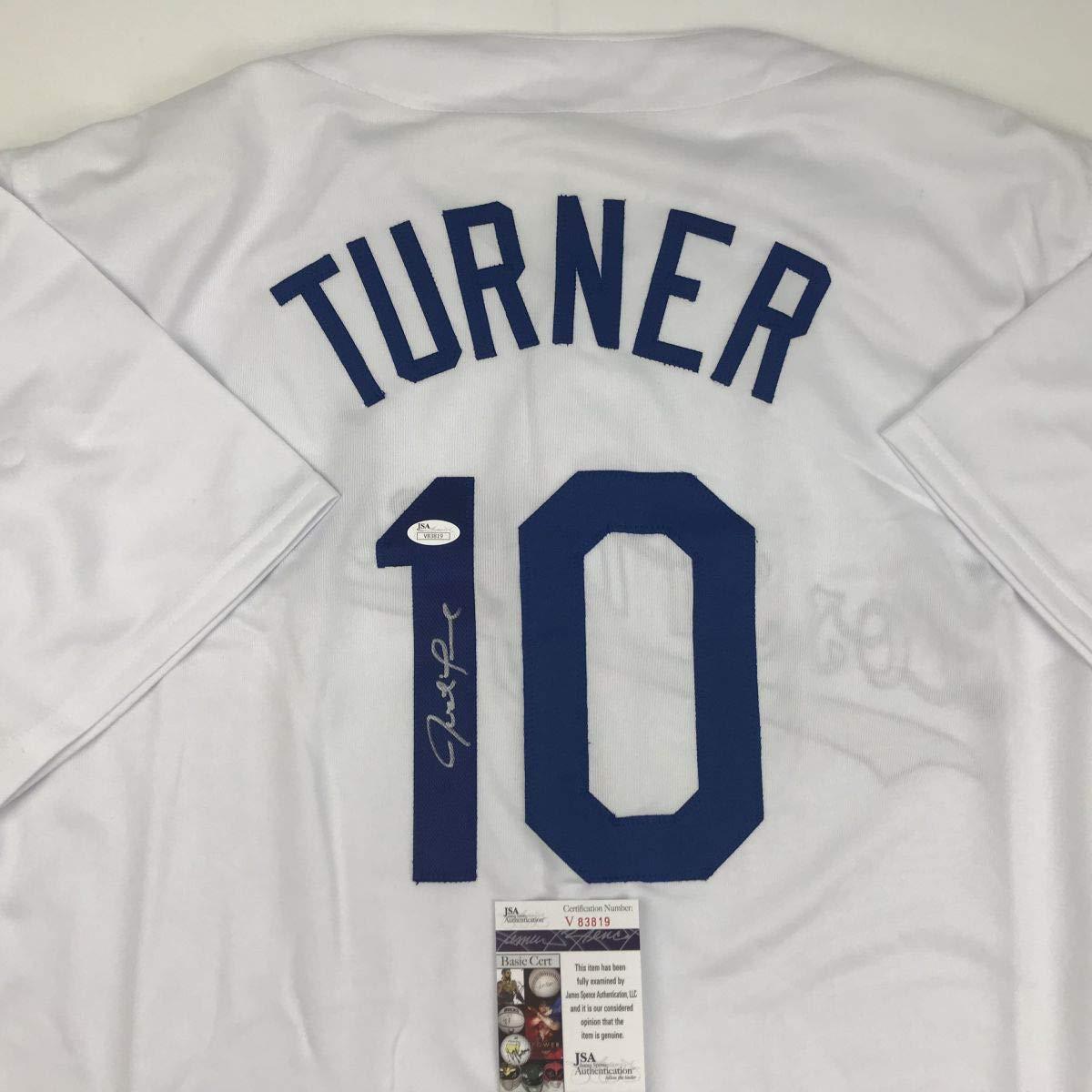 Autographed/Signed Justin Turner Los Angeles LA White Baseball Jersey JSA COA