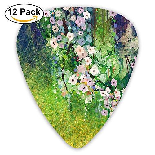 Newfood Ss Traditional Japanese Cherry Blossom Sakura Tree Petals Grass Land Paint Guitar Picks 12/Pack Set