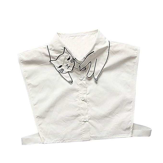 Lenfesh Cuello Falso Camisa Desmontable, Elegante Bordado Falso Collar Mitad Camisa Blusa Blanco para Mujeres (A): Amazon.es: Ropa y accesorios
