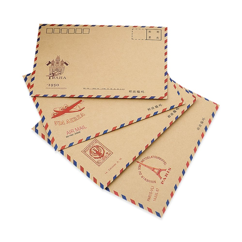Zhi Jin 100Pcs Vintage Pattern Airmail Letter Envelopes Case Holder Envelope Gift Set for Post Greeting Card Travel, Kraft