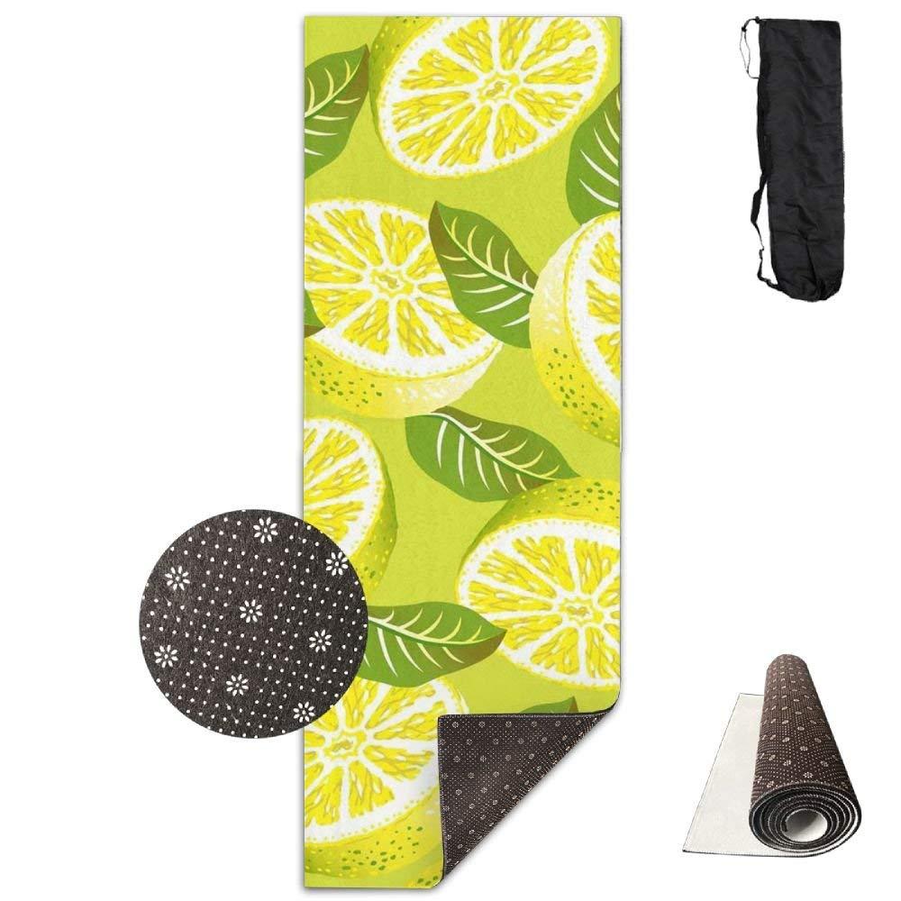 Lemon Fruit Pattern Deluxe,Yoga Mat Aerobic Exercise Pilates Anti-slip Gymnastics Mats
