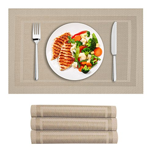 VEEYOO Champagne Placemats Woven Vinyl Non-Slip Insulation Heat Stain Resistant Washable Double Border Table Placemats Kitchen Dining Table Top Place Mats,PVC,Set of 4, Easy to Clean,Champagne