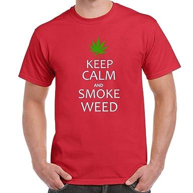 Herren Lustige Spruche Coole Fun T Shirts Keep Calm Rauch Unkraut