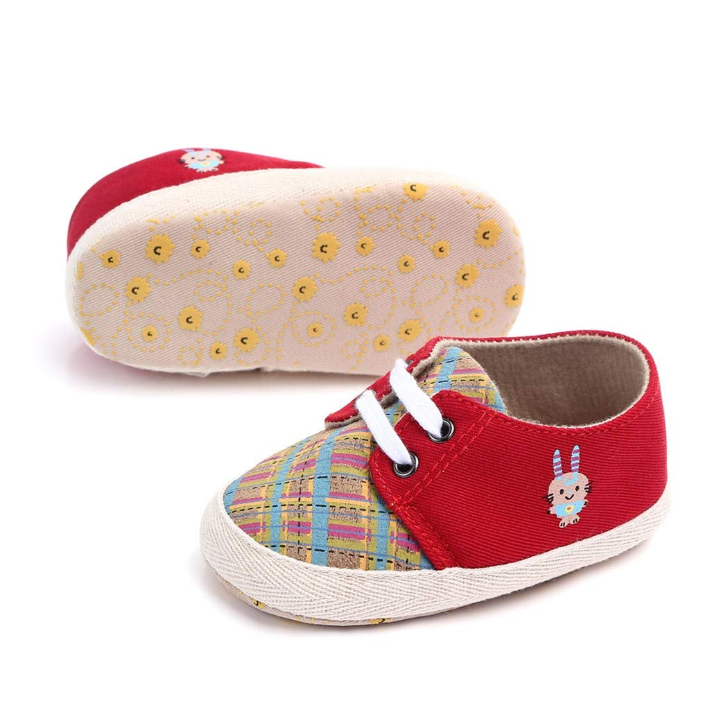 Creazrise Toddler Baby Rabbit Cartoon Anti-Slip First Walkers Soft Sole Shoes Lace-Up Girl Boy Plaid Print Canvas Shoes