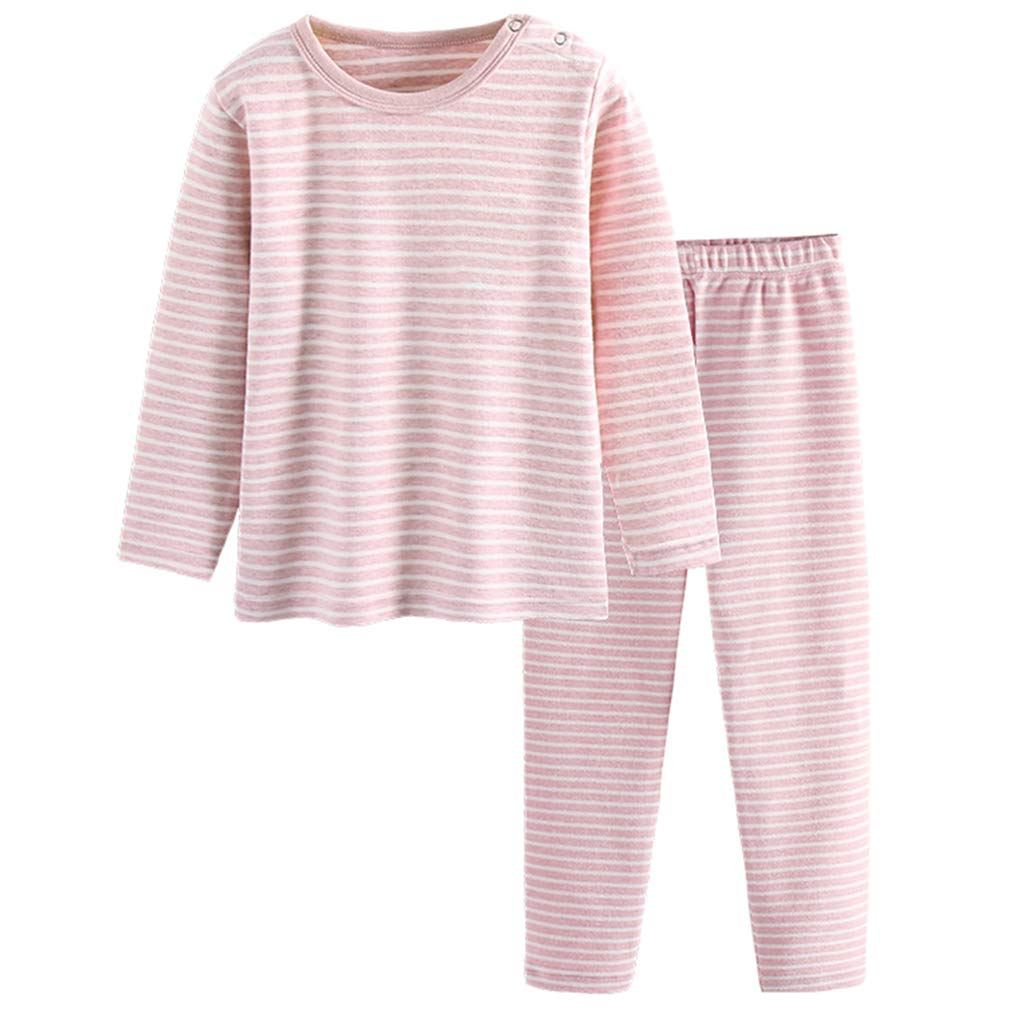 GLEAMING GRAIN Little Girls Thermal Underwear Girls Long Sleeve Striped Pajamas Organic Cotton Apparel Crewneck PJ Set Pink 2T by GLEAMING GRAIN