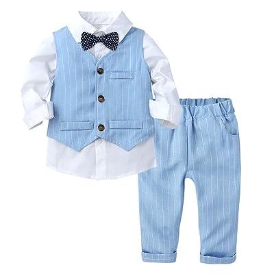 Kid Baby Boy Christening Bow Tie Stripe Top Long Pants Outfit Suit Gentleman Set