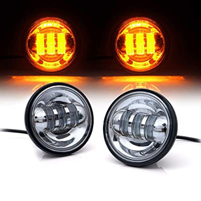 "Xprite 4.5"" Inch Chrome 60W Cree Round Led Spot Light 2700k Amber Passing Projector Fog Lights for Harley Davidson Daymaker Motorcycles: Automotive"