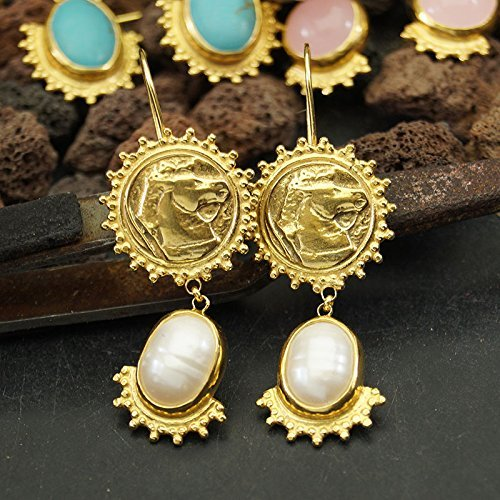 Omer Sterling Silver Sun Collection Pearl & Horse Coin Earrings 24k Gold Plated Ancient Coin Earrings