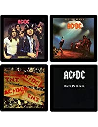 Acquisition AC/DC Coaster Collection #1-(4) Different Album Covers Reproduced Onto Soft, Absorbent, Collectible Coasters -... deliver