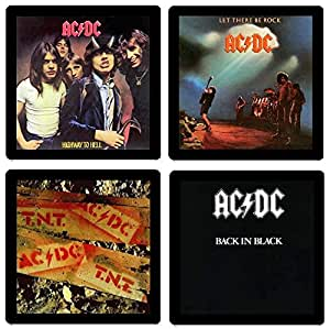 AC/DC Coaster Collection #1-(4) Different Album Covers Reproduced Onto Soft, Absorbent, Collectible Coasters - by N2Pics