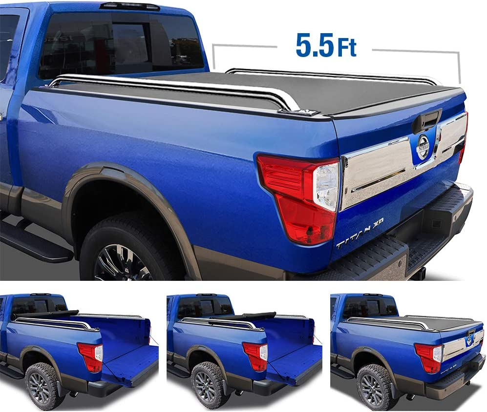 Tyger Auto Black T2 Low Profile Roll Up Truck Tonneau Cover Tg Bc2n2081 Works With 2004 2015 Nissan Titan For Models Without The Utili Track System Fleetside 5 5 Bed Tonneau Covers