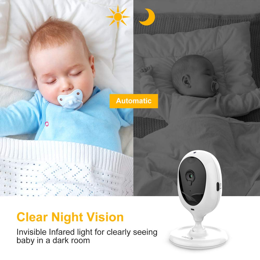 LBtech Video Baby Monitor with Two Cameras and 4.3'' LCD,Auto Night Vision,Two-Way Talkback,Temperature Detection,Power Saving/Vox,Zoom in,Support Multi Camera by LBtech (Image #3)