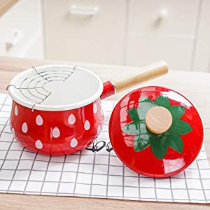 AMYZ Nonstick Frying Pans,Enamel Milk Pot,Saucepan,Mini Butter Warmer,Stone Coating Milk Pan with Wooden Handle for Cooking Baby Food Heating Liquid with Filter C 14x15cm(6x6inch)
