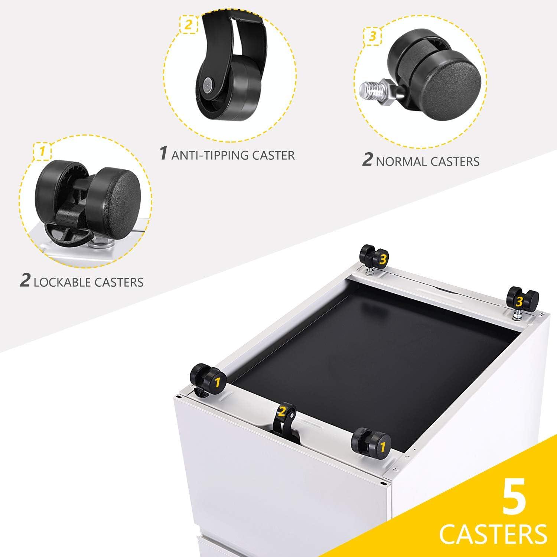 3 Drawer Mobile Office File Cabinet with Lock,Rolling Pedestal Storage Cabinet on Wheels//Letter Size,Black