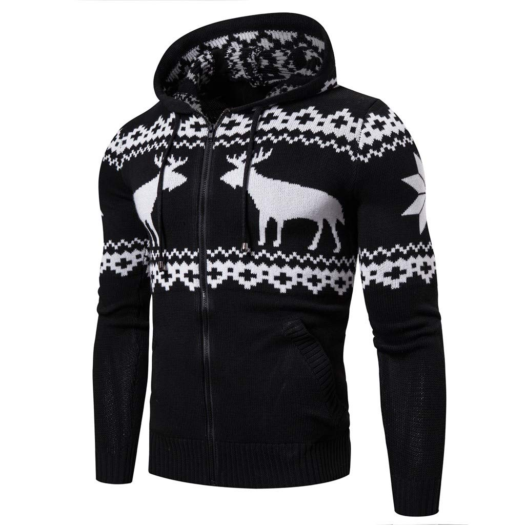 Muranba Mens Winter Coats Hooded Christmas Zipper Casual Long Sleeve Knitting Sweaters Tops Blouse